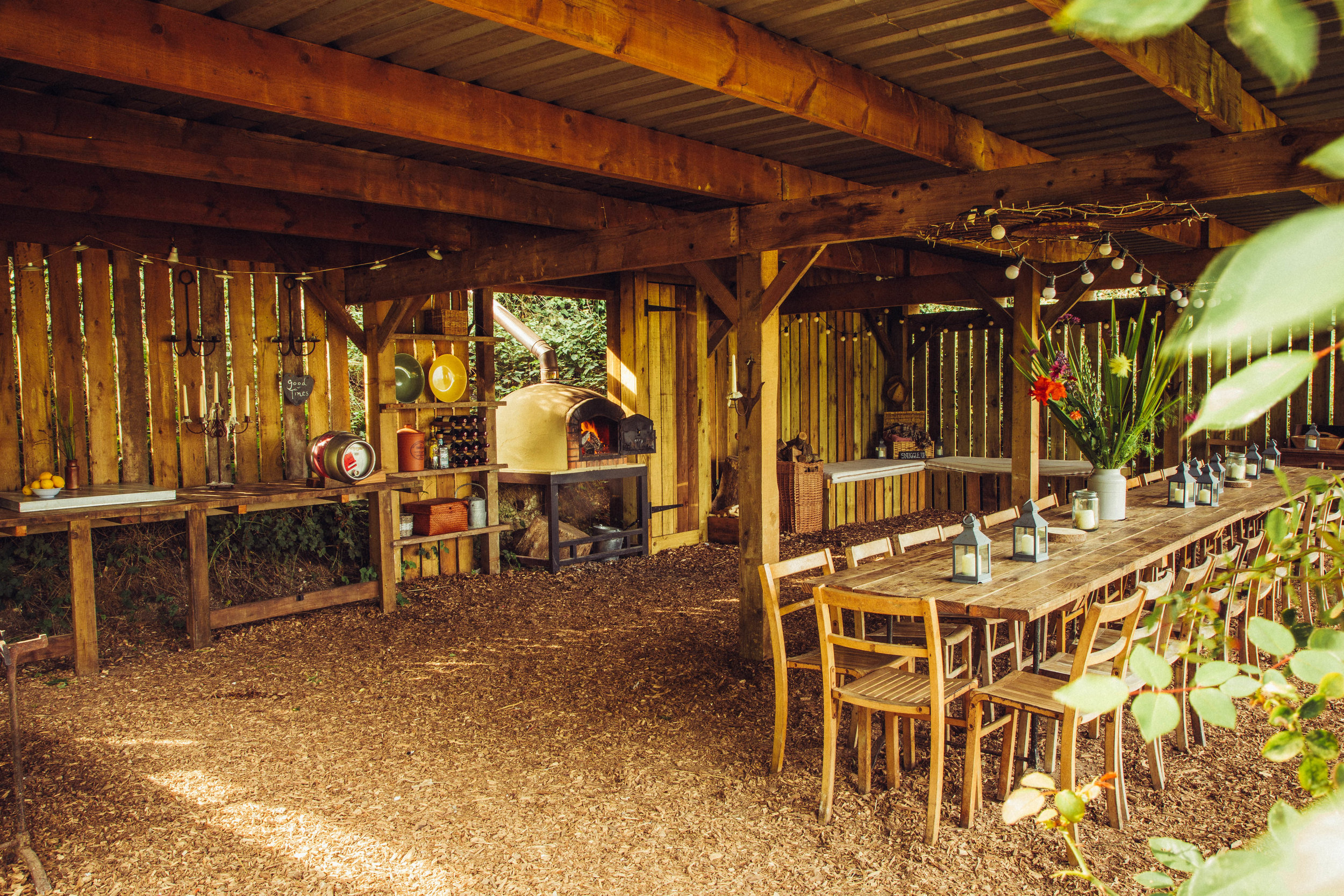 THE FIELD SHELTER - A dedicated feasting and merry-making space with a stunning view down the valley