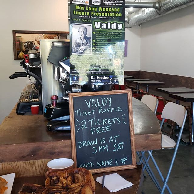 Valdy ticket giveway! Come by and enter your name to win 2 tickets!  @greyowlcenter  #evrgreenforlife  #waskesiucoffeeshop