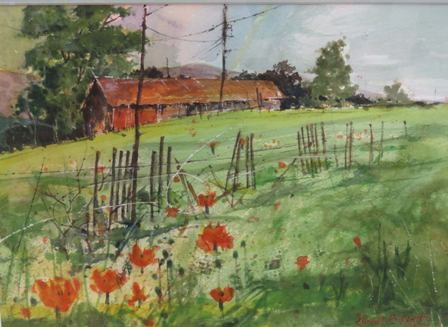 """Honorable Mention: """"Poppies"""" by Lionel Sanchez   """"Poppies""""is a lovely little painting.The composition works well and the medium is well executed."""