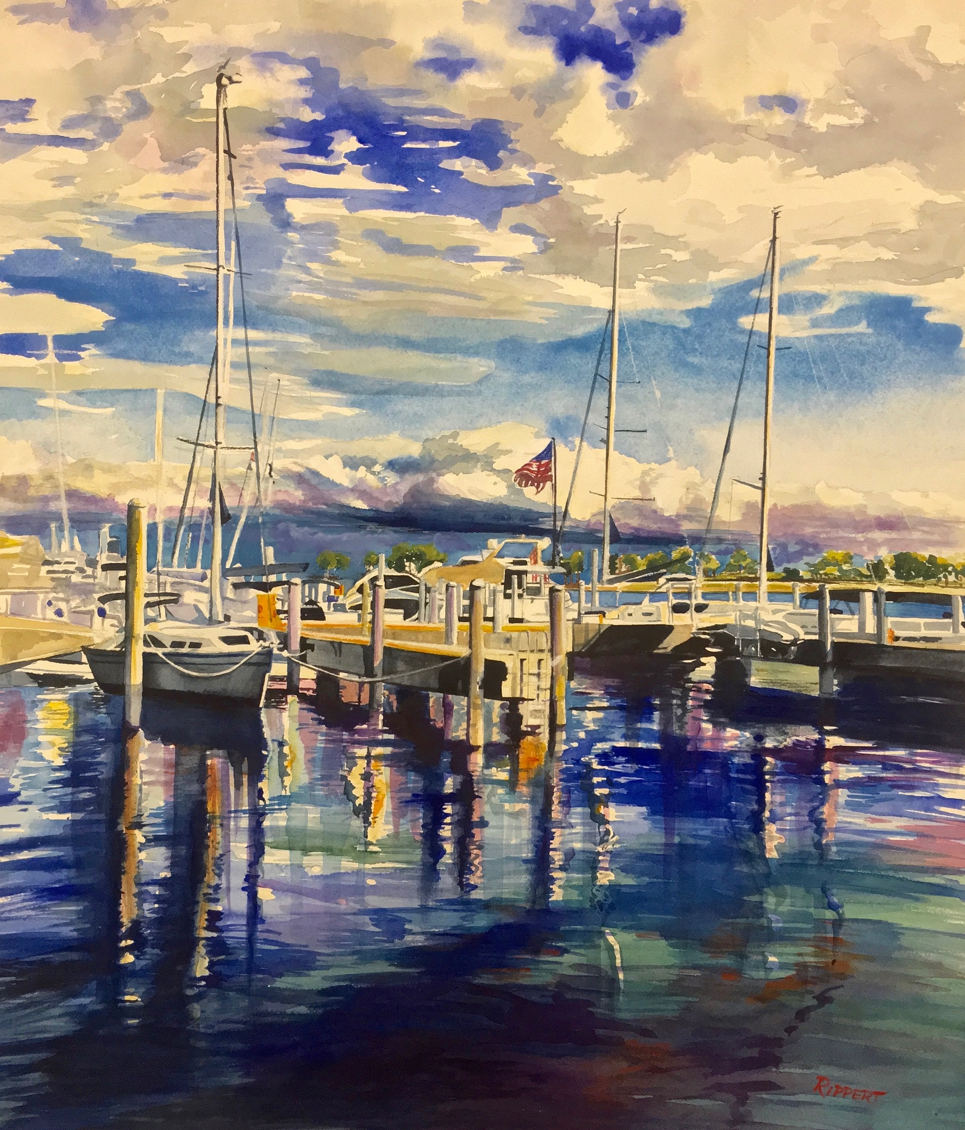 """Heather Rippert """"Let Freedom Ring"""" Watercolor"""