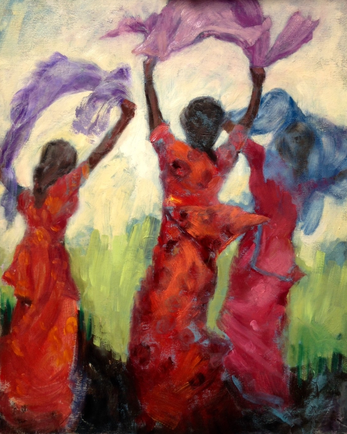 """Pam Rubenstein """"Dancing with Scarves"""" Oil"""