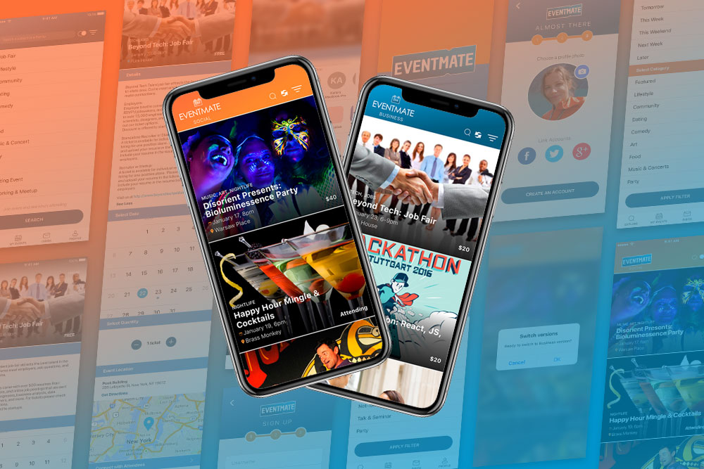 EventMate - UI and UX design for an iOS Mobile app, Website design, logo creation, brand identity creation, eCommerce, competitive space analysis
