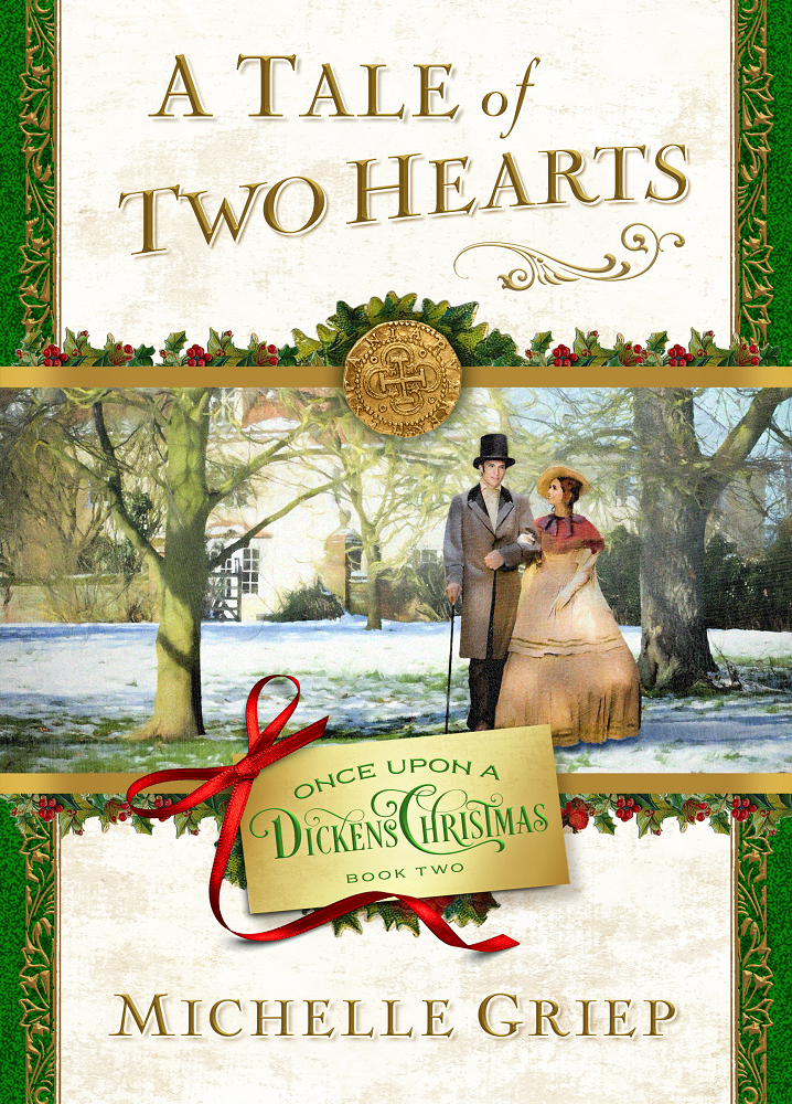 A Tale of Two Hearts  cover, Victorian couple walking in snow, One Upon a Dickens Christmas book 2