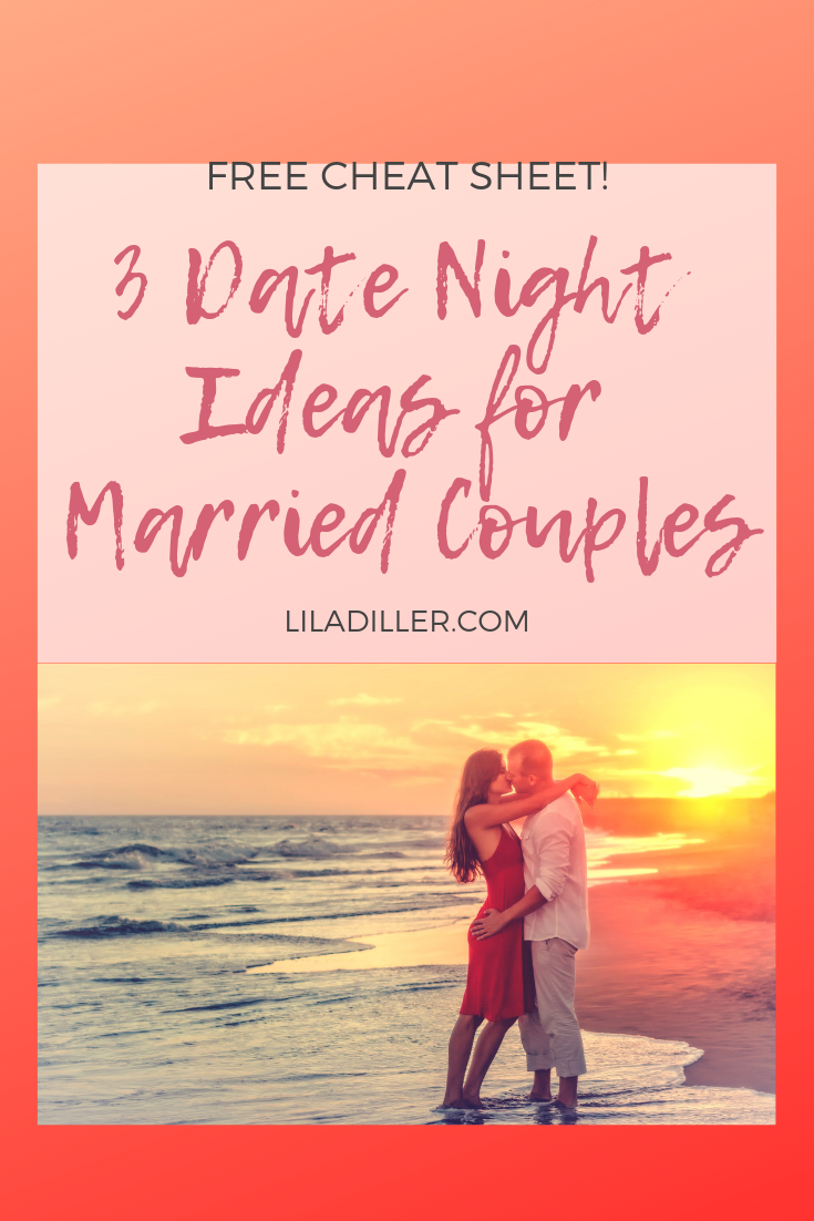 Title: (husband kissing wife at the beach) 3 Date Night Ideas for Married Couples + cheatsheet