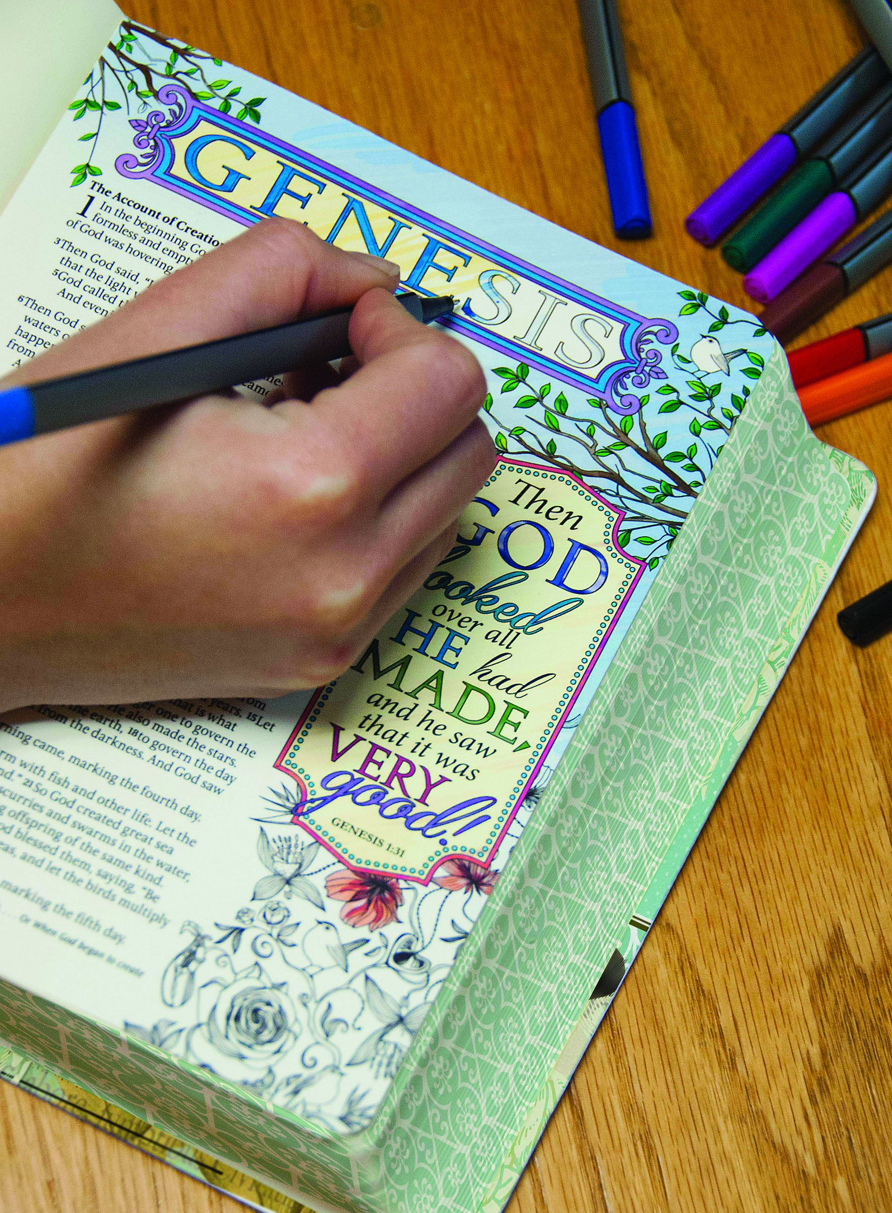 Inspire Bible  (NLT) for Bible journaling and coloring.