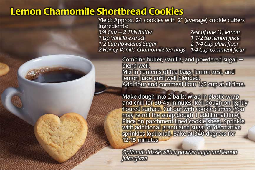 Lynn Watson's recipe for Lemon Chamomile Shortbread Cookies.