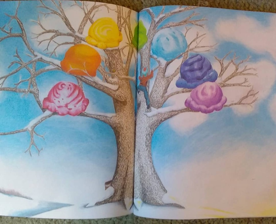 Colorful two-page spread in  Isaac's Ice Cream Tree .