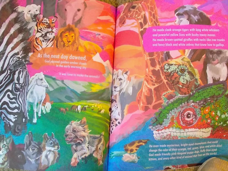 Two-page, colorful illustrations of animals in  When God Made Colors .