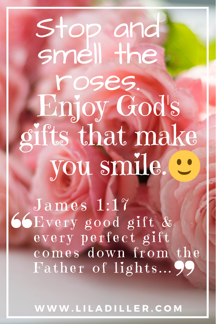 Stop and Smell the Roses. Enjoy God's gifts that make you smile. James 1:17. Word of the Year Bible verse.