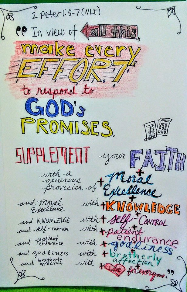 Lila Diller's word art of 2 Peter 1:5-7.