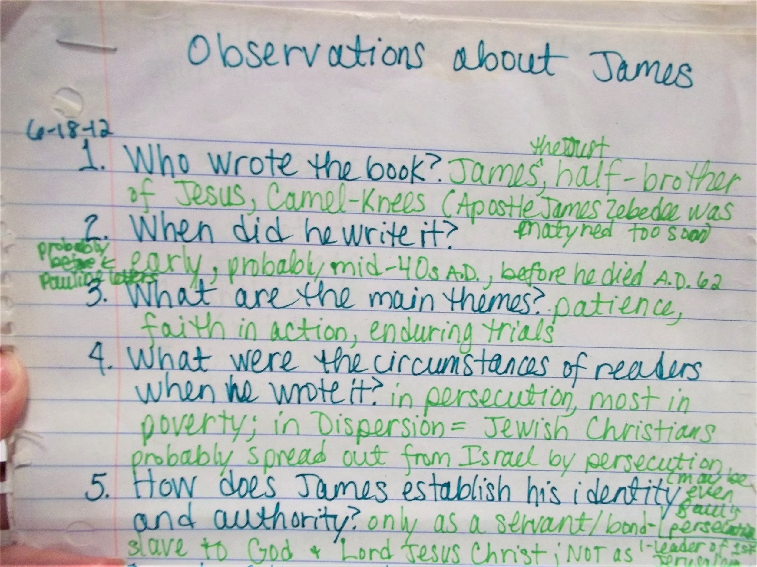 Observations about James by Lila Diller. Ask questions and then search for the answers in the text.