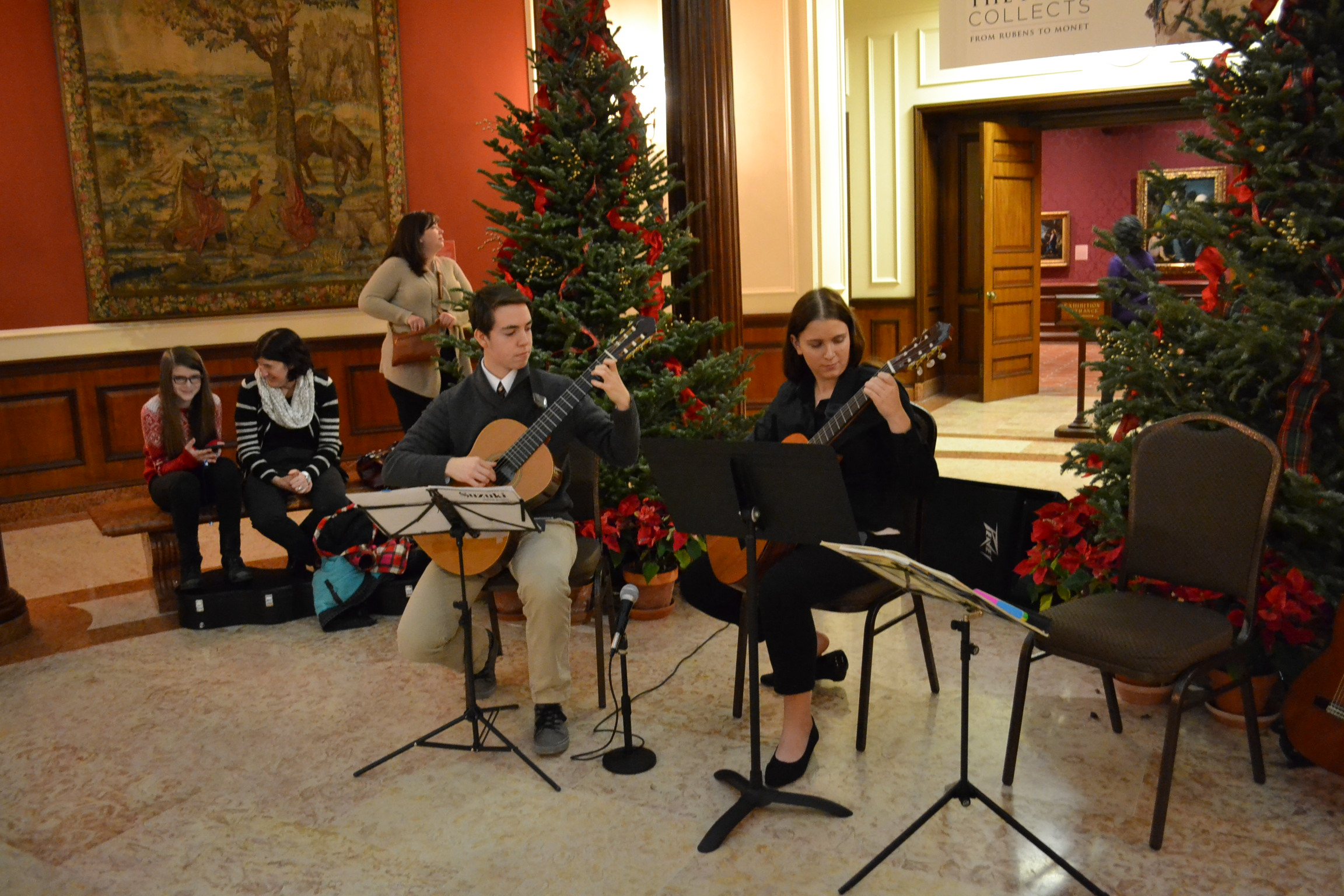 Benjamin Solomon and Allison Spear form the Chamber Guitar group, playing at the Frick Museum