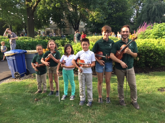 Mr. Chris and violinists are excited to perform at Fridays at the Frick!
