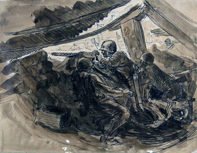 Harry was the youngest ever officially commissioned Marine Corps artist.  This is one of his thousands of sketches from his time in the Pacific where he fought at Saipan, Roi Namur, and Tarawa where he was wounded by shrapnel to the head.  This head wound resulted in epilepsy as well as a host of other mental and emotional issues that would affect Harry for the rest of his life.  #harryjackson #artist #nycartist #flaming_abstracts #curator #master #arthistory #bronze #sculptor #sculpture #painter #americanwest #artcollector #collector #realism #figurativeart #abstractexpressionism #oilpainting #americanart #midcenturymodern #modernism #postwar #pollock #dekooning #newyork #littleitaly #wyoming #italy #wwii #tarawa