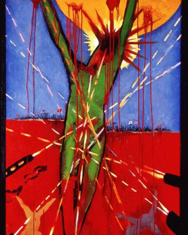 """Crucifixion at Betio"", (partial image) oil on canvas.  In honor of the men and women of the #armedservices this post relates specifically to Harry's experience at the South Pacific atoll called Tarawa or Betio where he suffered a major head wound by shrapnel.  In the same mortar attack he also witnessed his best friend 'Whitey' die from a direct hit.  The figure here represents Whitey and the innocence all those young men shared before witnessing the horror of battle.  The sea, rather literally is red with blood.  This was one of the most intensely bloody battles in history where in the period of 3 days over 6000 Japanese, Koreans  Americans died on an area of a half square mile.  It is a historically important battle because it was the first successful amphibious assault on a heavily fortified position.  The tactics used here laid the blueprints for the invasion of Normandy.  #harryjackson #nycartist #flaming_abstracts #curator #master #arthistory #bronze #sculptor #americanwest #artcollector #collector #realism #figurativeart #abstractexpressionism #oilpainting #americanart #midcenturymodern #modernism #postwar #pollock #dekooning #newyork #littleitaly #wyoming #italy #usmc #marinecorps #memorialdayweekend"