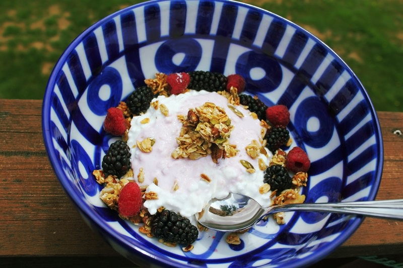 Our granola snacks add huge flavor, texture and crunch to your favorite yogurt,and luscious berries. This is my favorite oversize breakfast bowl.