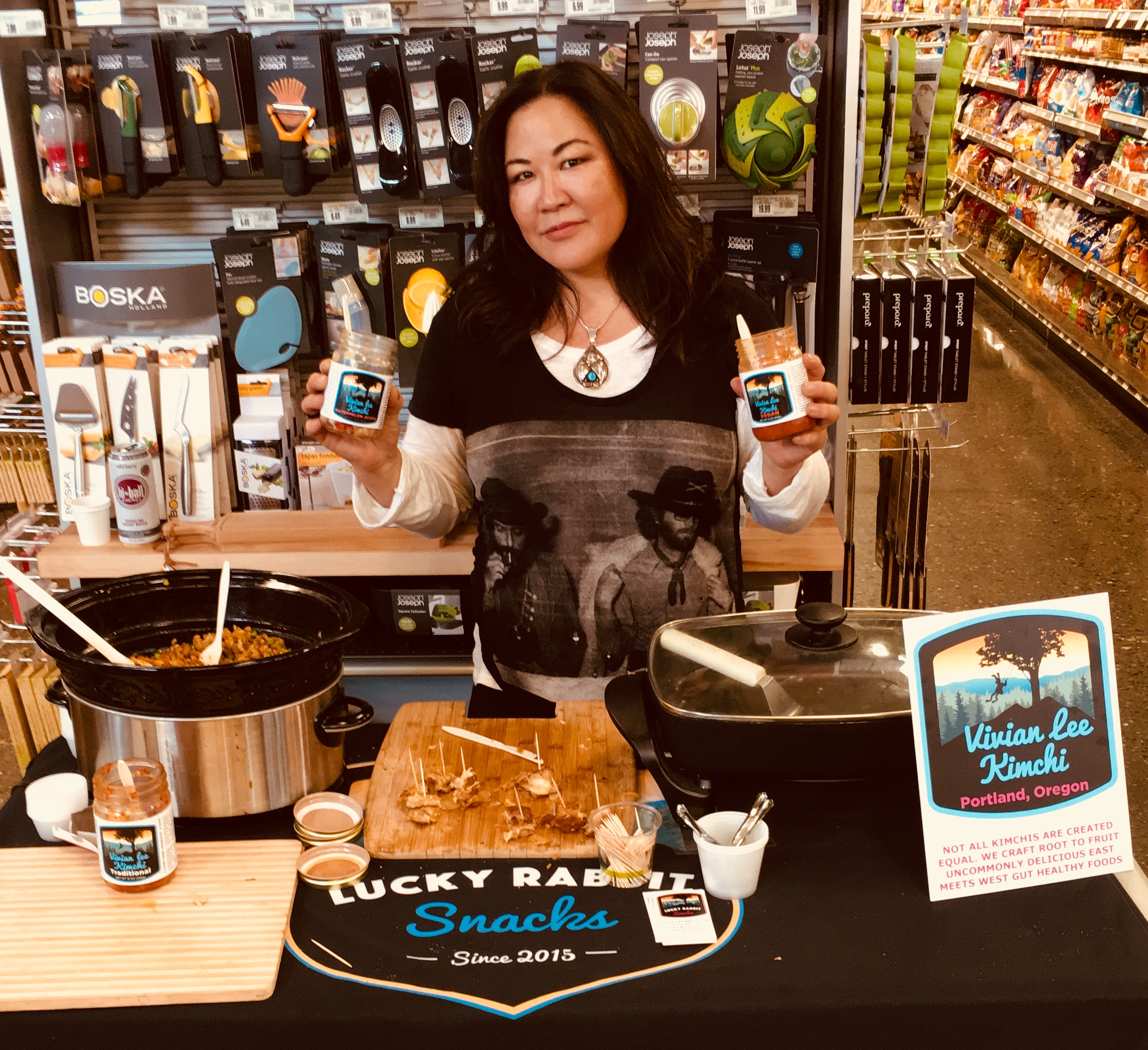 Demoing our kimchi and grilled cheese sammies & kimchi fried rice. -