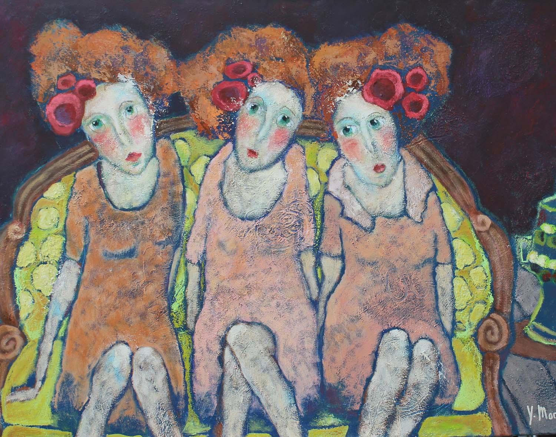 trois filles sur le canapé Yvonne Morell