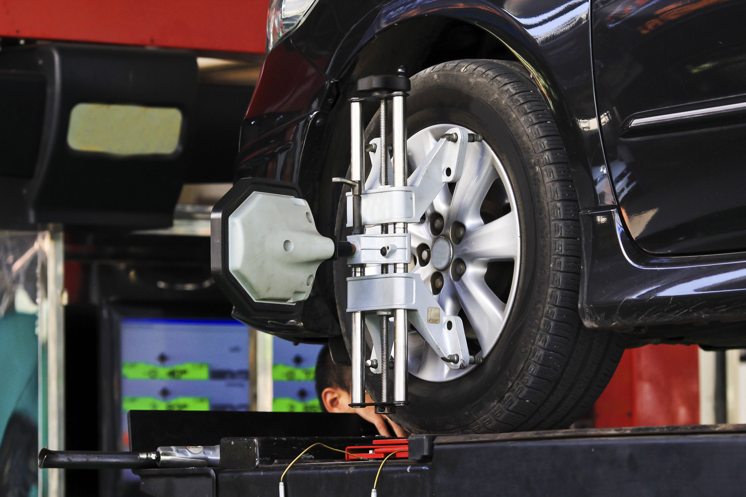 Alignment - Your vehicle has several components that fatigue over time or are disturbed by potholes and other bumps on the road. When these components slightly shift, it will affect the alignment angles of your vehicle which can wear out your tires prematurely or cause your vehicle to pull. A sign that an alignment is most likely needed is when the steering wheel is off center when driving straight.  Contact us  and we would be more than happy to ensure that your vehicle is driving straight down the road and not prematurely wearing your tires.