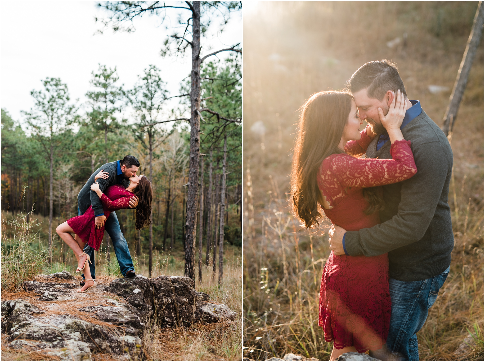 A Fall Kisatchie Forest Engagement Session photographed by Taylor Hubbs Photography, located in Baton Rouge, Louisiana. A wedding and lifestyle family photographer.