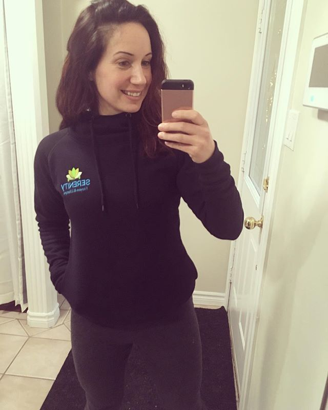 Embracing that winter isn't going away anytime soon 🙃 ⛄️ So happy with the new order of Serenity Fitness & Lifestyle merchandise including this cozy hoodie!! 😍 Thank you AMPLIFYit for such wonderful work & customer service!! 💛