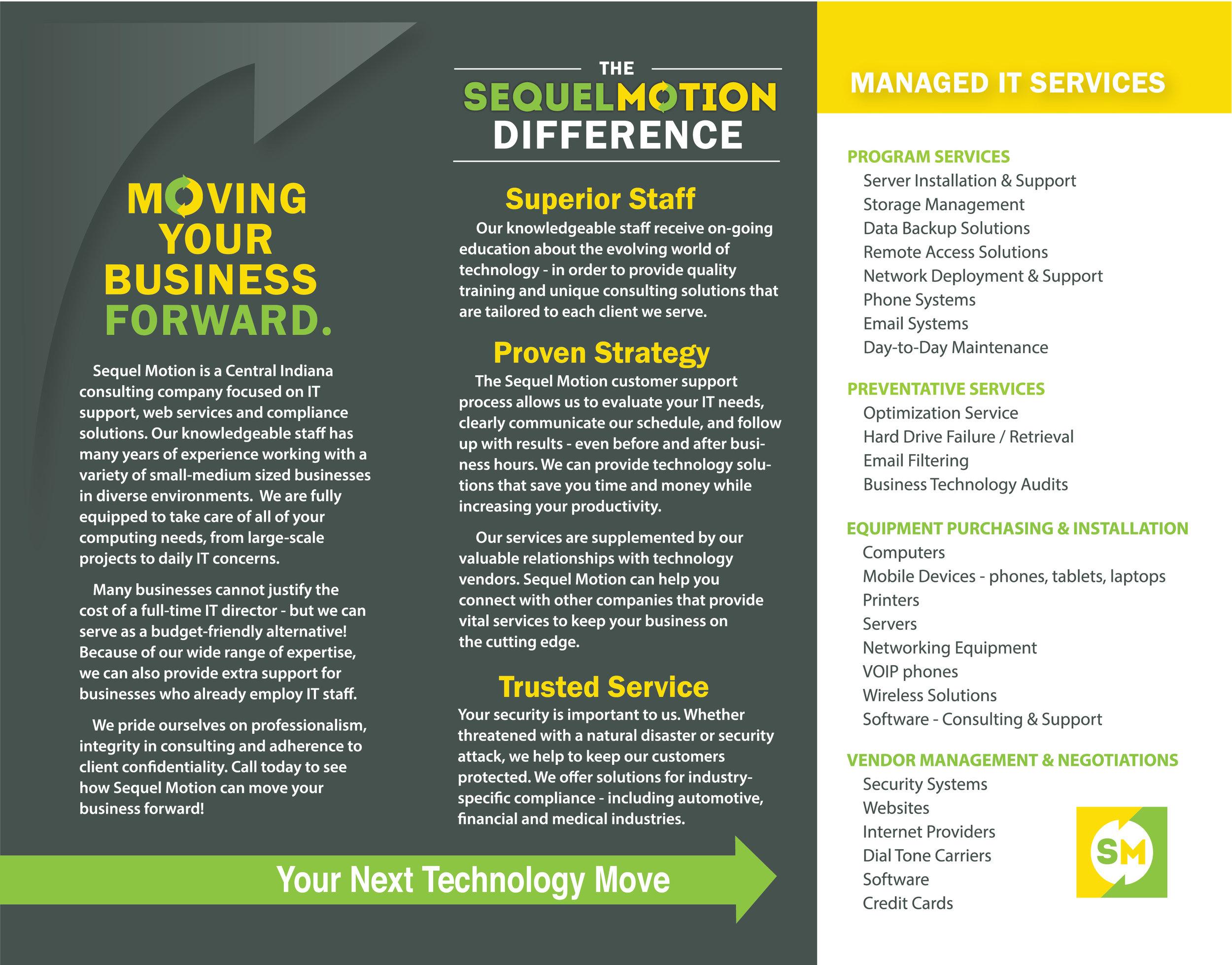 Sequel Motion Tri-Fold Brochure Design
