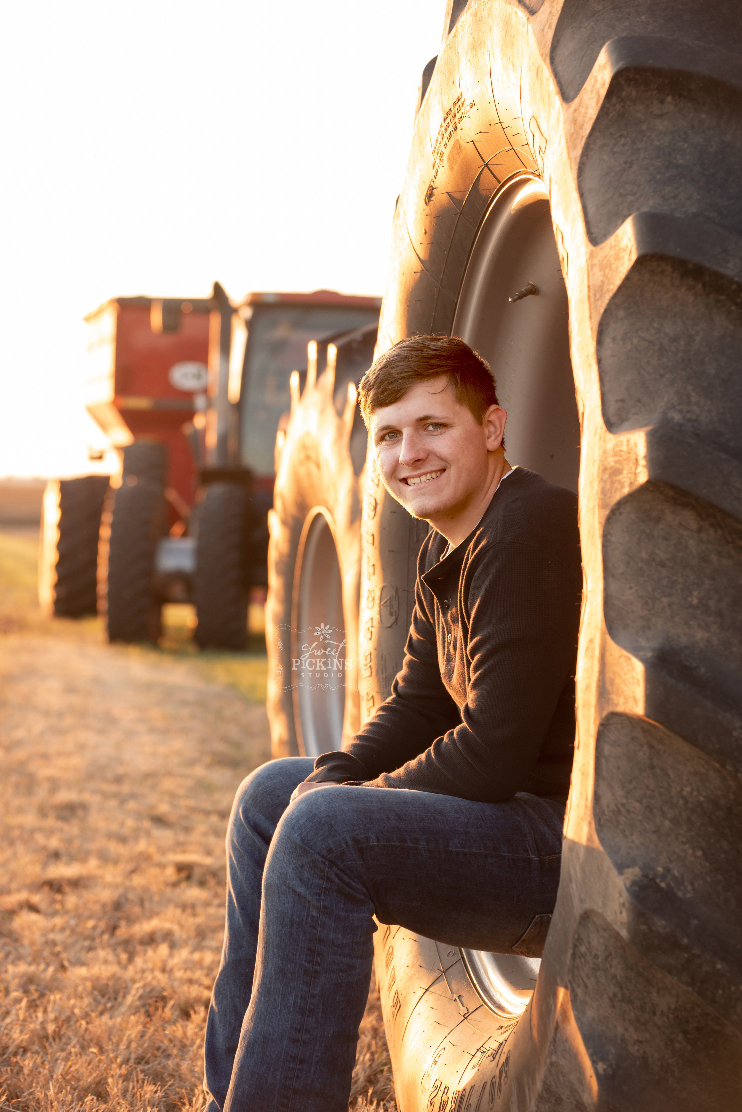 Peru, IN Senior Portrait Photographer | Farm Field with Golden Hour Sunset Light, Farm Guy with Case IH Tractor and Combine Equipment