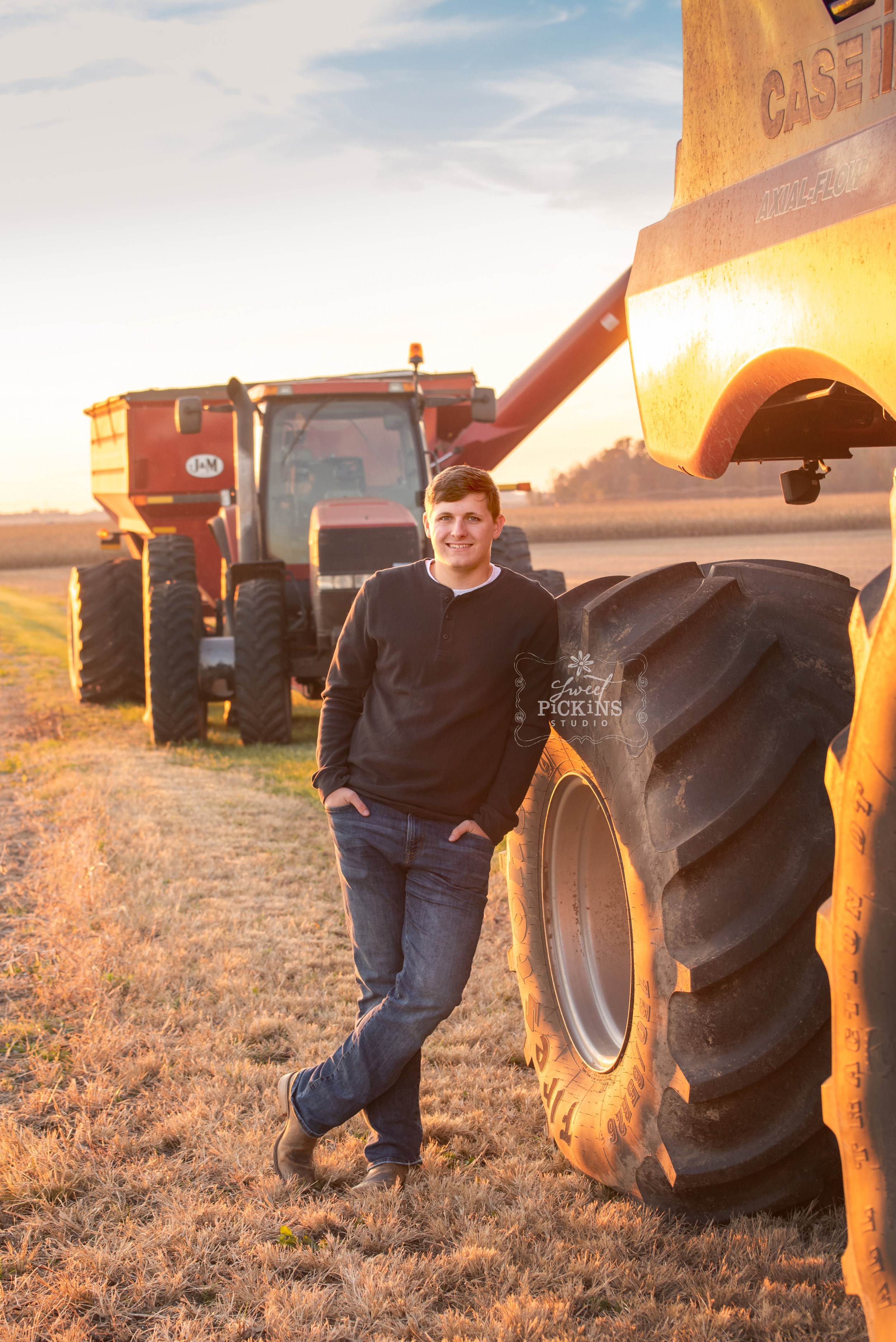 Senior Portrait Photography | Peru, IN Farm Field with Natural Light, Farm Boy with Case IH Tractor and Combine