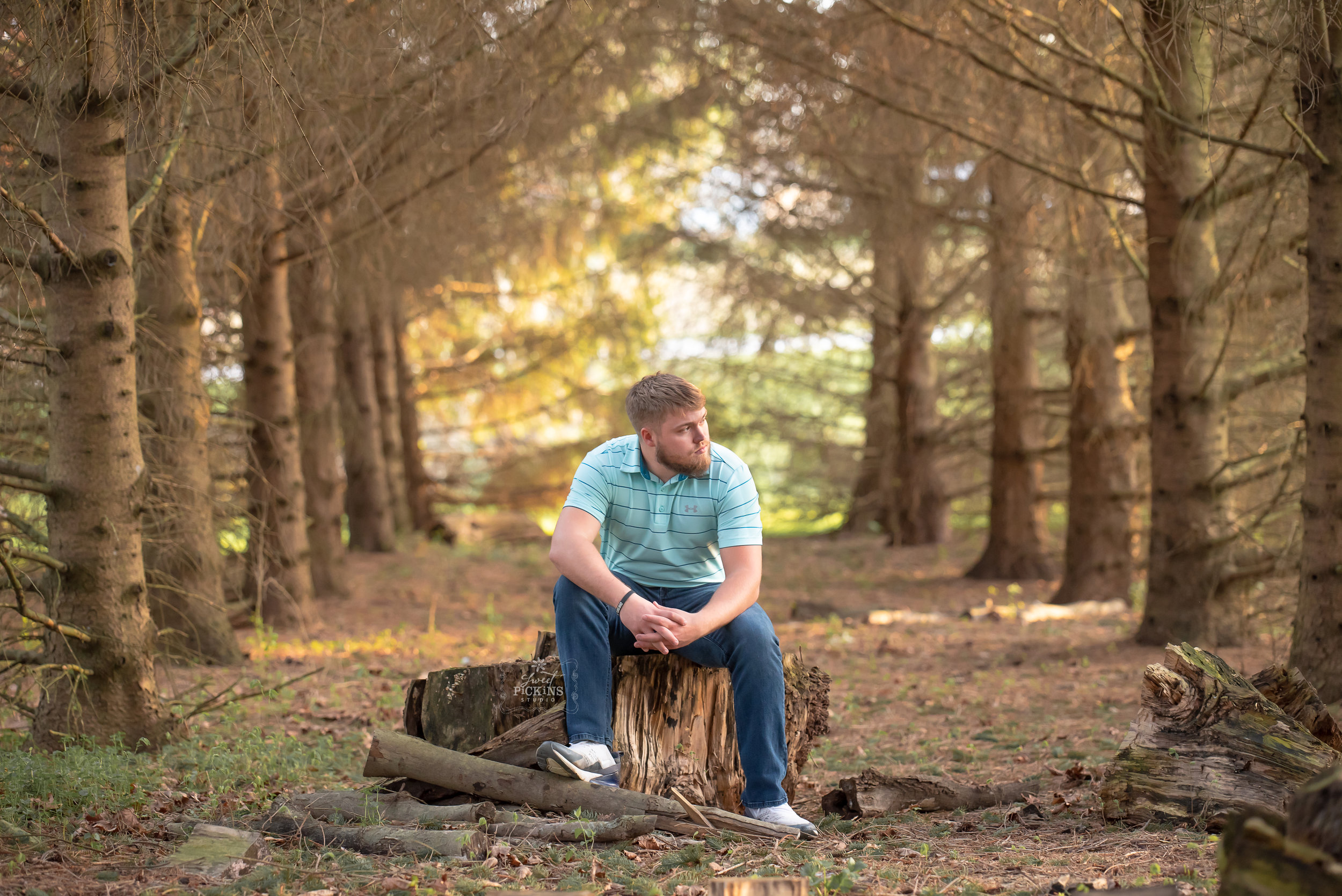Class of 2019 Senior Guy Session by Sweet Pickins Studio | Forest Trees during Sunset Location