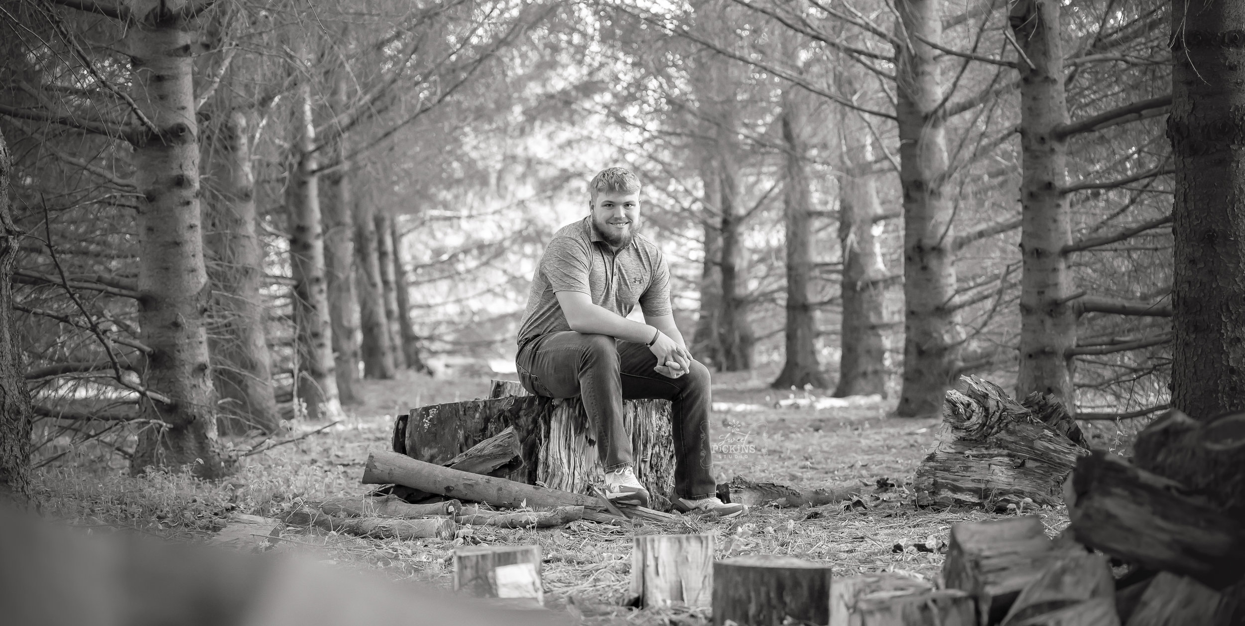 Black and White Senior Photo | Forest Trees in Sunset Light