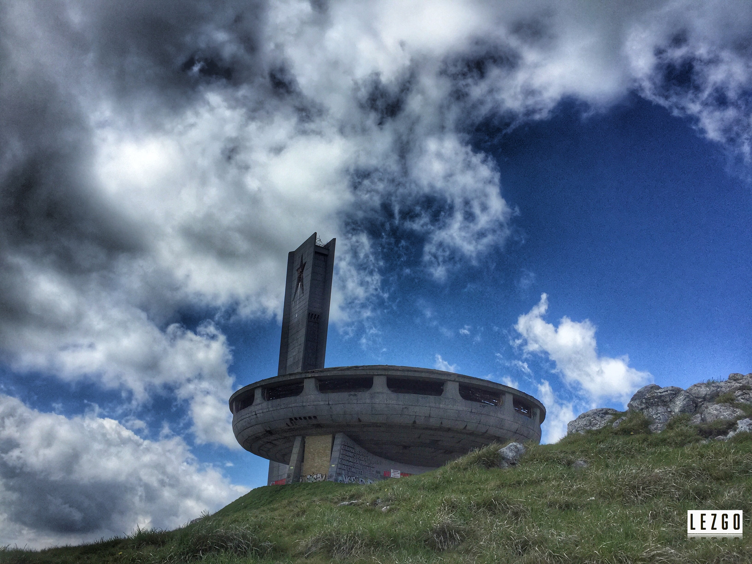 Buzludzha alone on a hill, Bulgaria May 2017