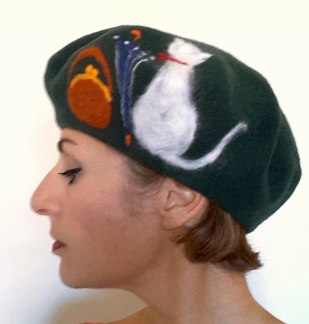 Dark green beret with cat.jpg