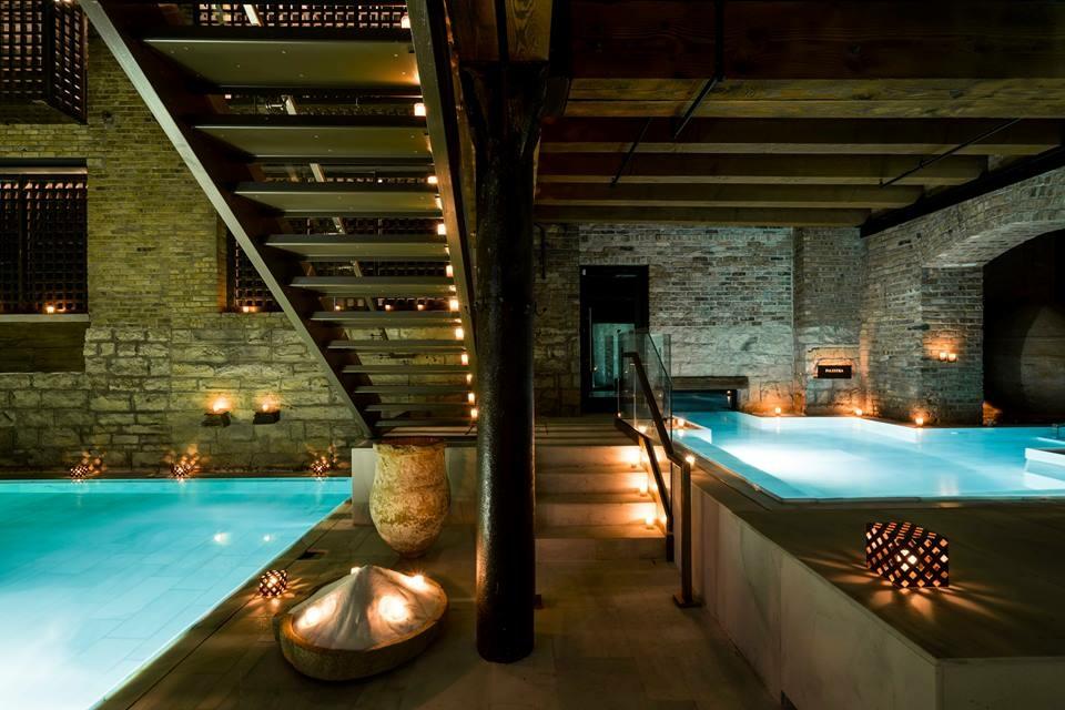 Image : Aire Ancient Baths,  www.BeAire.com  Left - Flotarium, Indoor/Outdoor pool - Right
