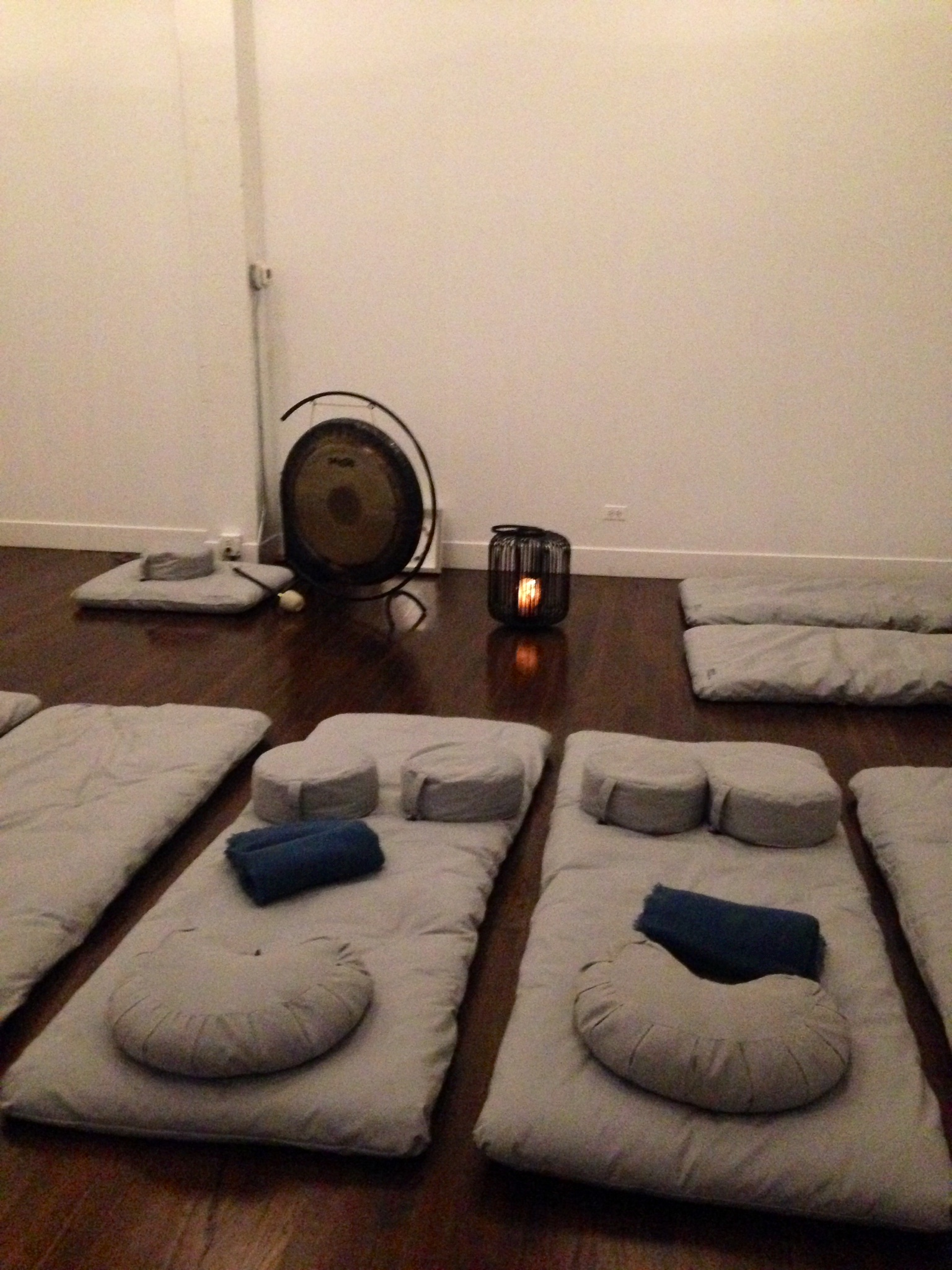 I love to go to   Chill Chicago   for sound healing meditations.  It's a gorgeous space and they have very luxurious neck pillows, blankets and super comfy bean bag mats - no yoga mat required!