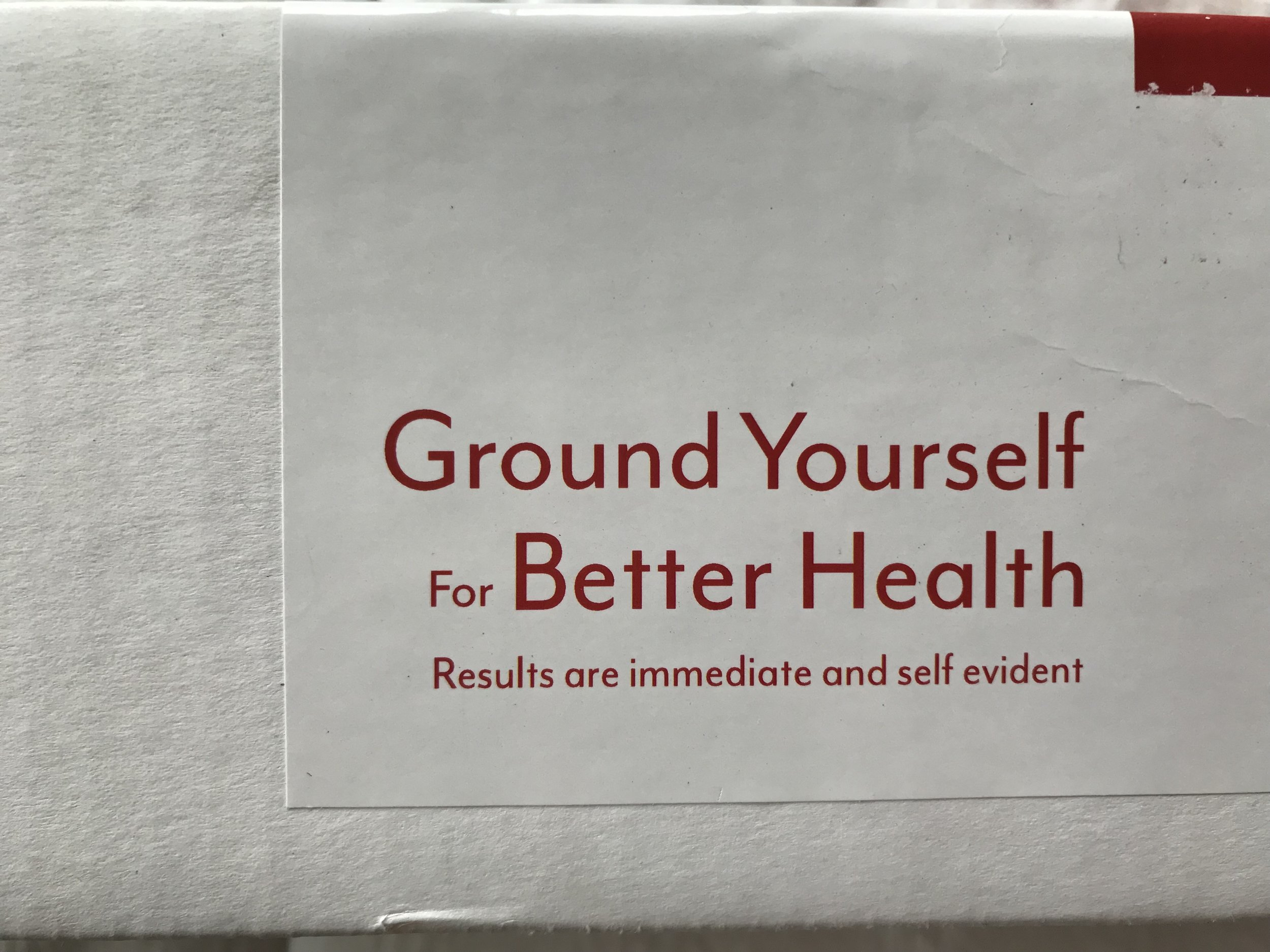 """The box from the   grounding mat   I have on my bed. """"Results are immediate and self evident."""" Yes they are."""