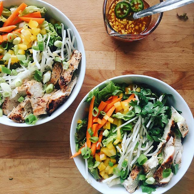 "His and Hers Vietnamese inspired ""spring roll"" salad bowls #rainbowsalad #summerofsalads #getinmybelly"
