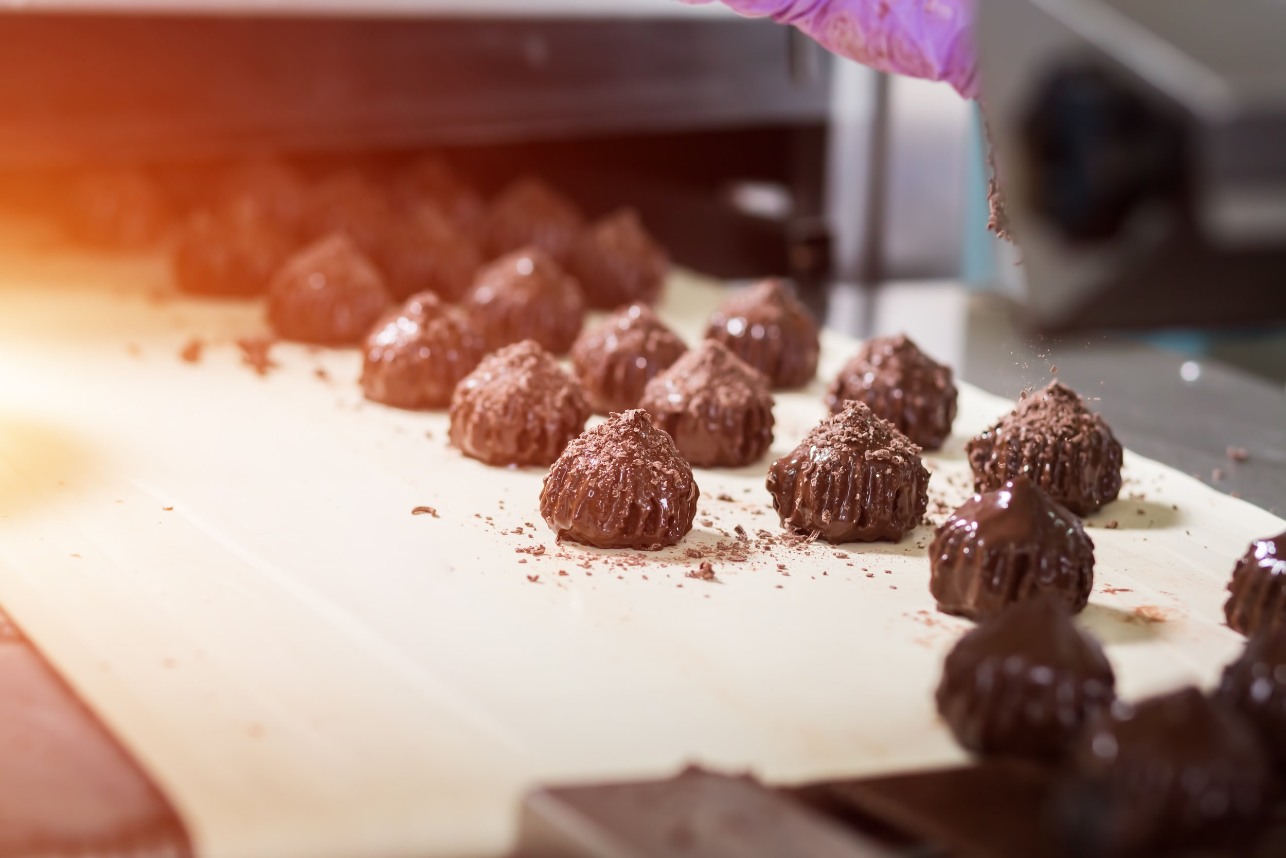 Chocolate factory, candy assembly line