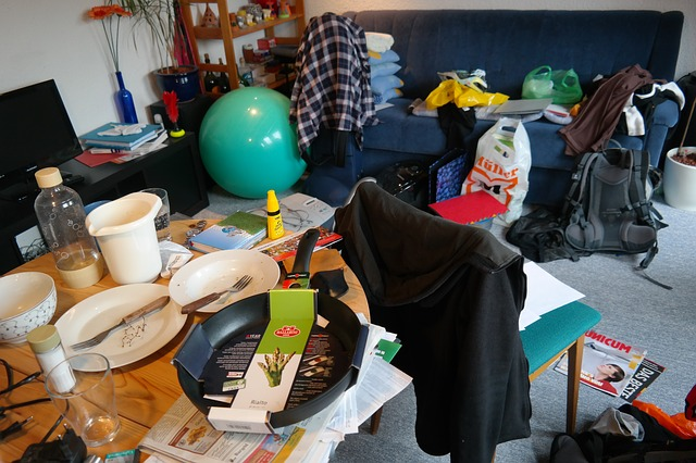 Disorganized, messy room, clutter