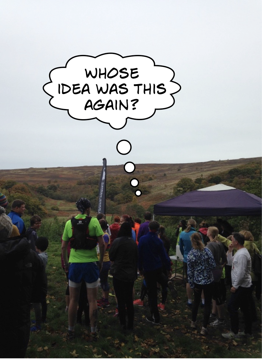 Runners eagerly contemplating the moorland route at the start