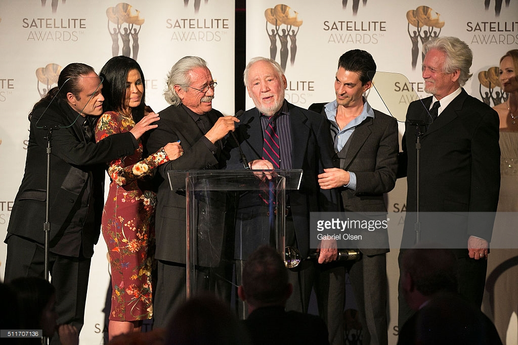 """Schub with cast of """"Caught"""" at Sate"""