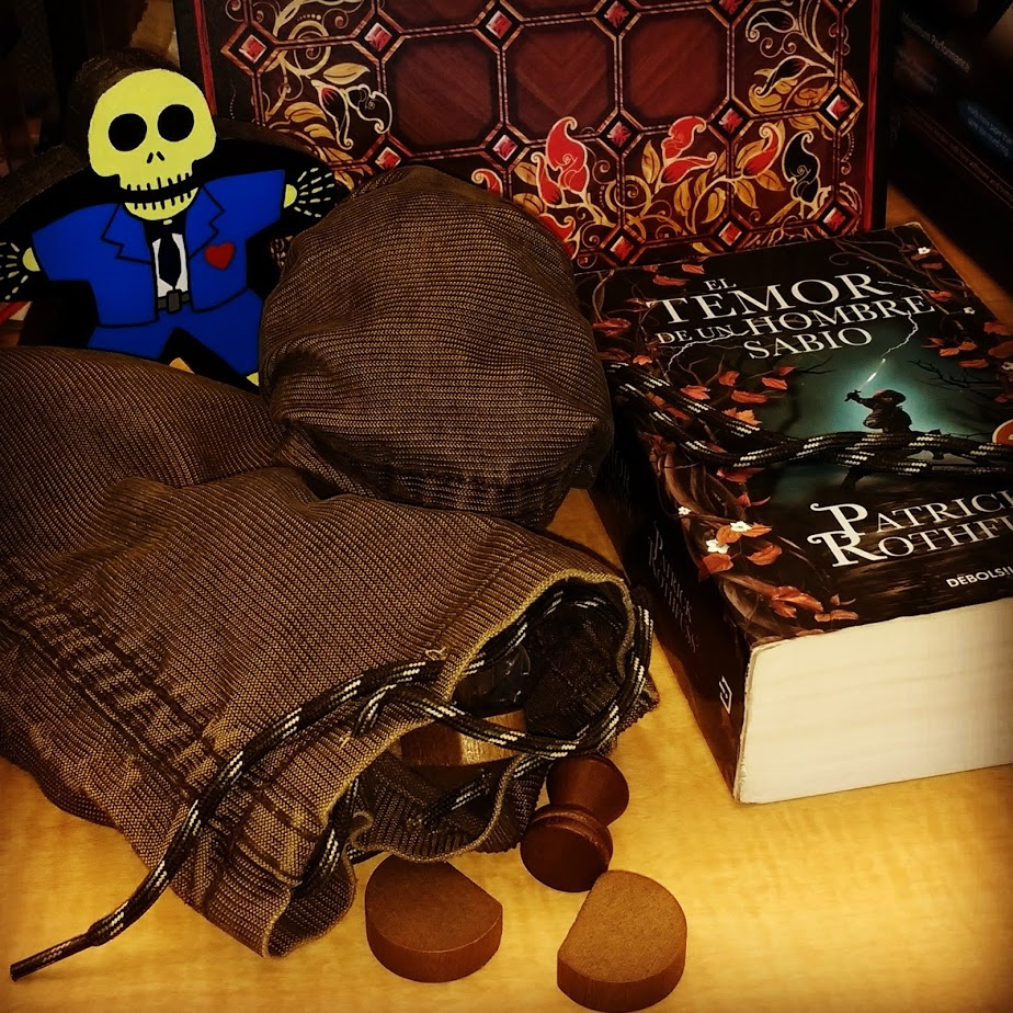 Tak, 2nd Book, Custom Meeple and stone bags done by me