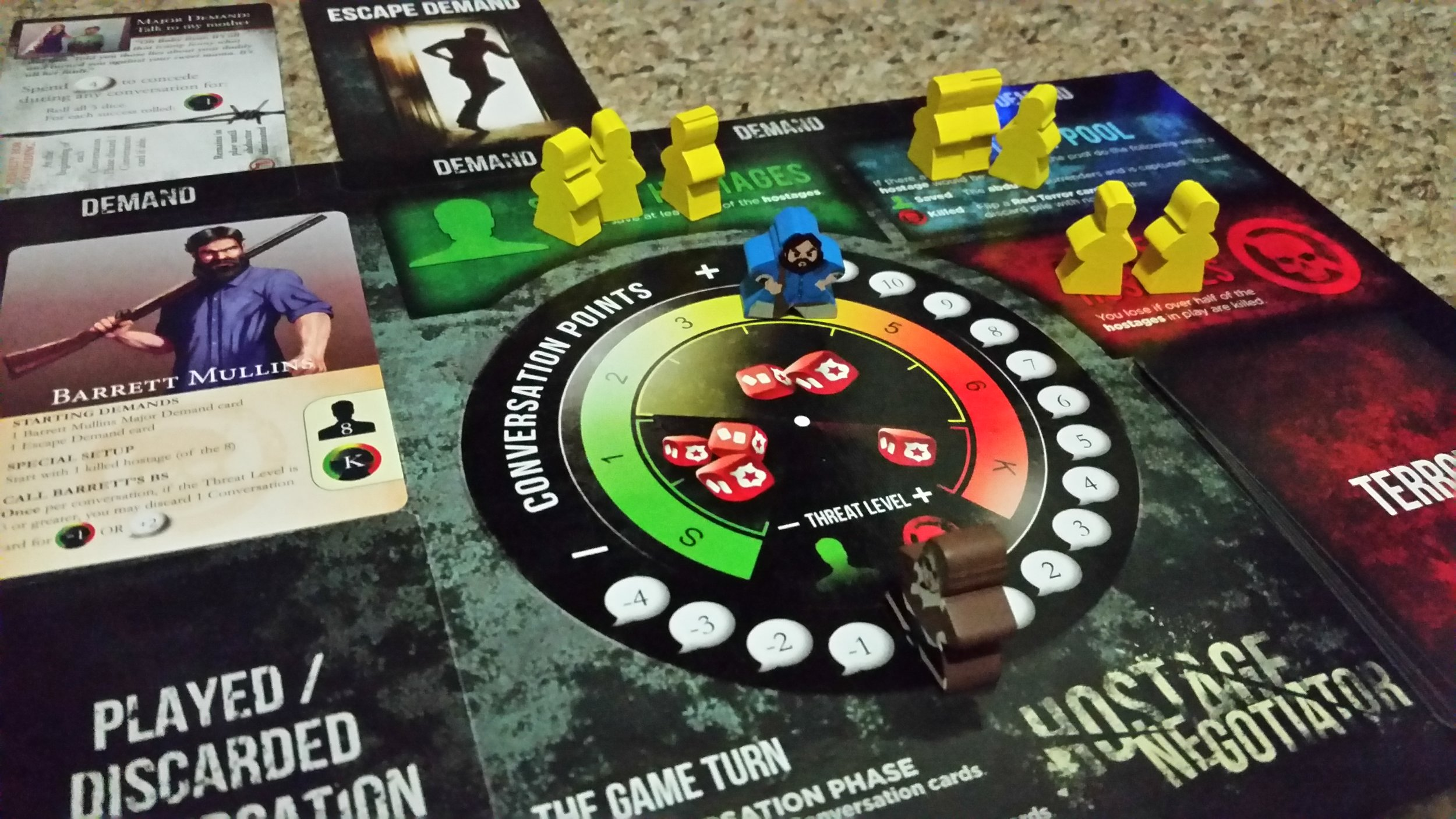 These custom meeples for the abductors and negotiators are not included with any version of the game, they were a special KS-related project from  Meeple Source . I'm not sure the availability of these outside HN KS projects. But they look awesome!
