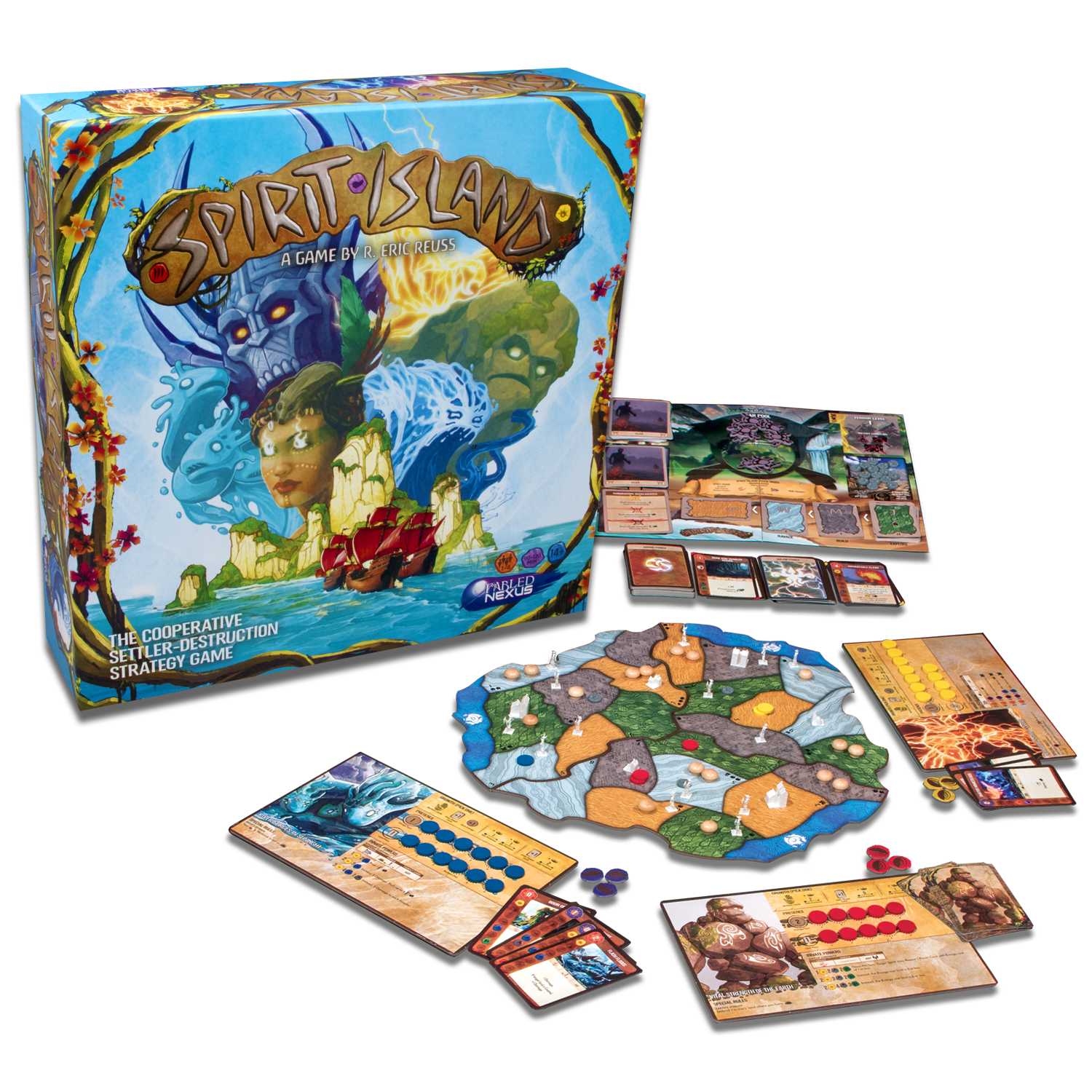 Spirit Island box and components in play.png