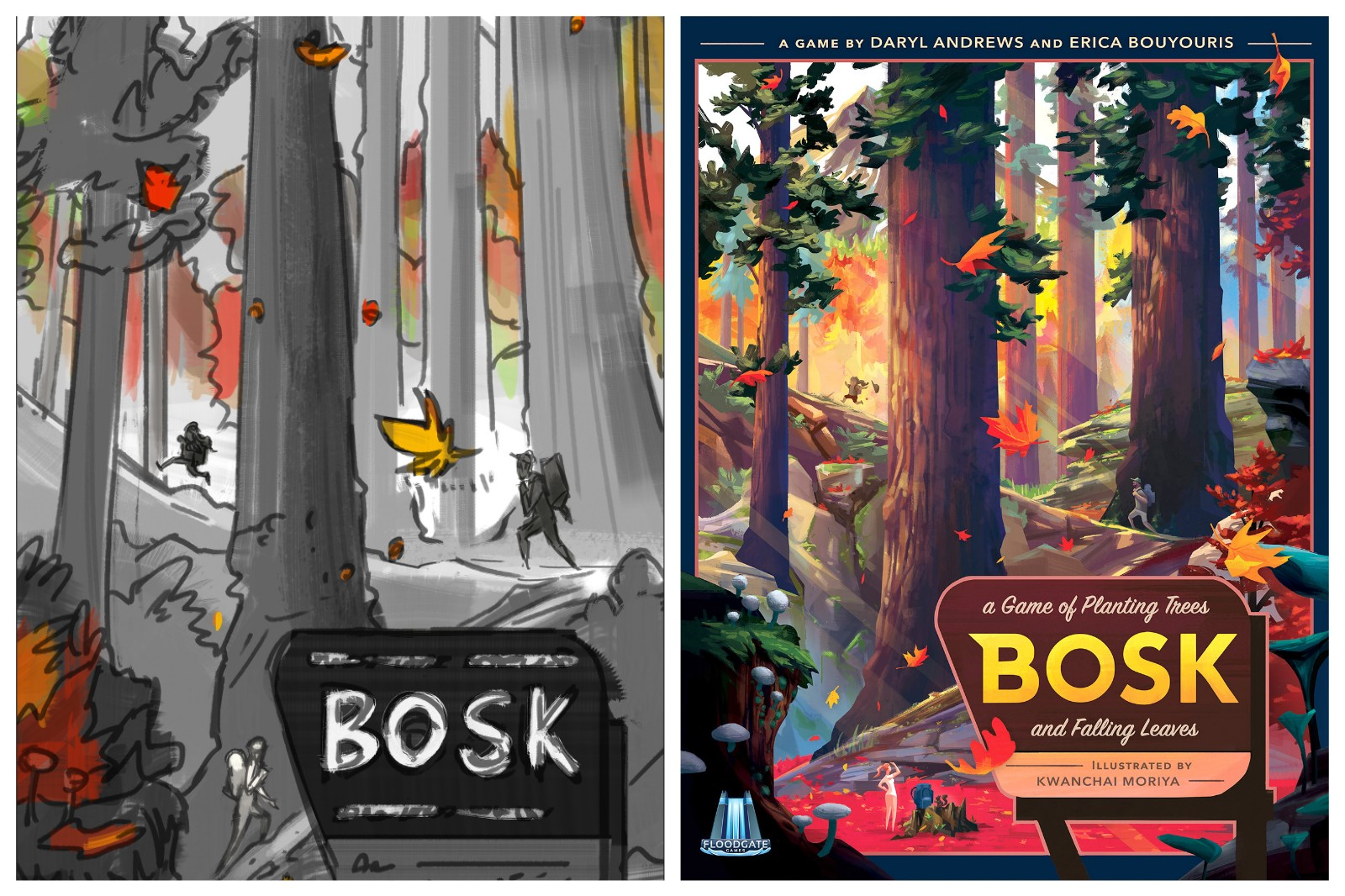 Concept art for Bosk (left) and the completed cover (right)