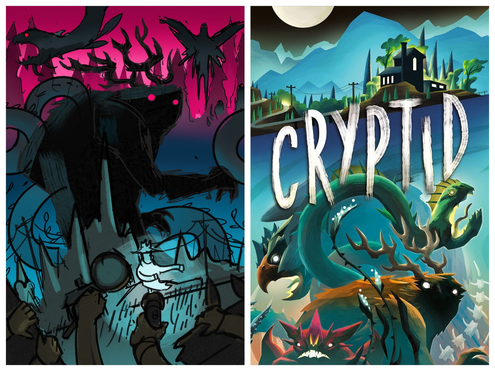 Early concept art for Cryptid (left) and the completed cover (right)