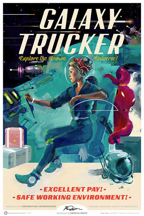 Galaxy Trucker print by Kwanchai Moriya for the BoardGameGeek Artist Series