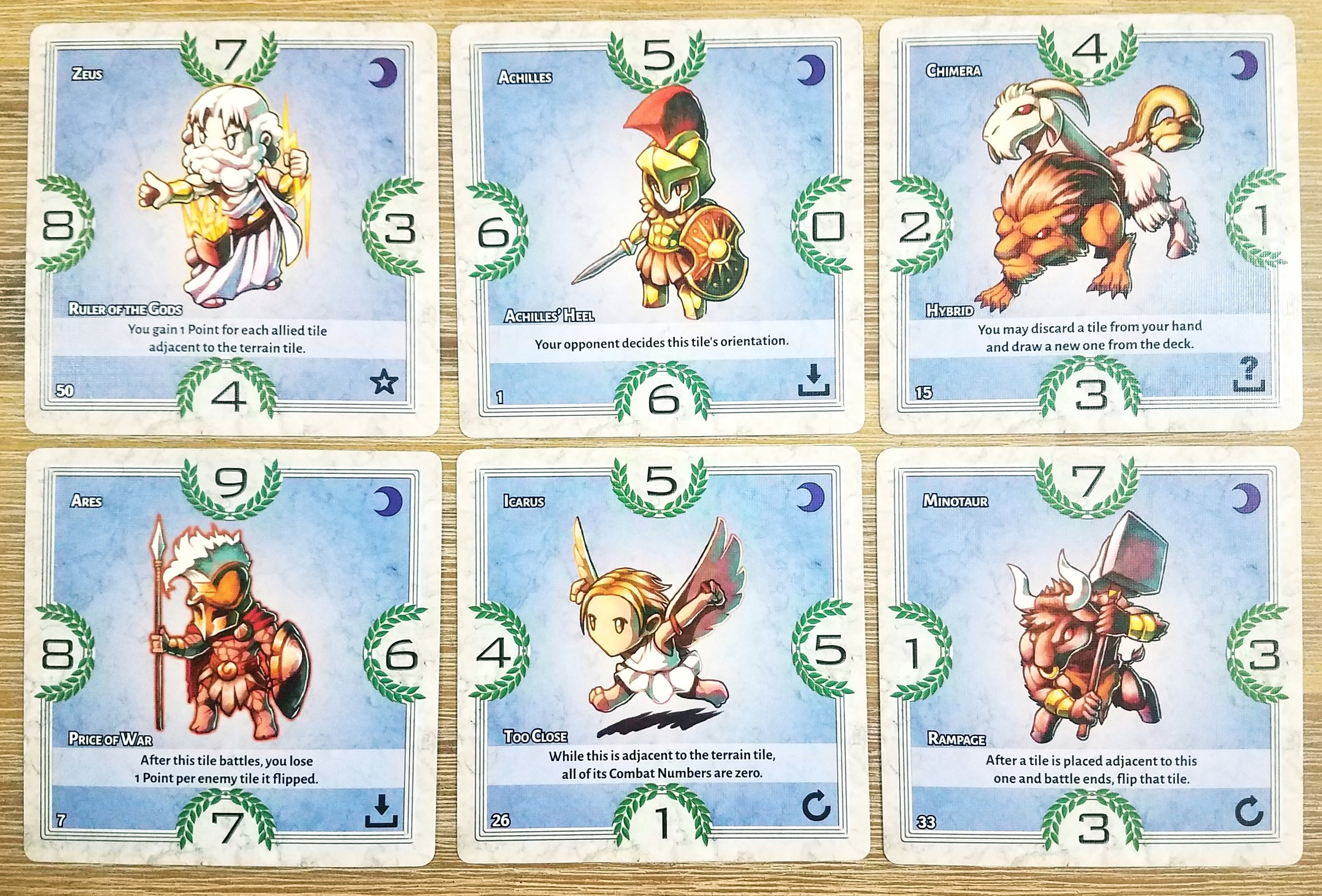 Cards representing gods, heroes, and monsters from Greek mythology.