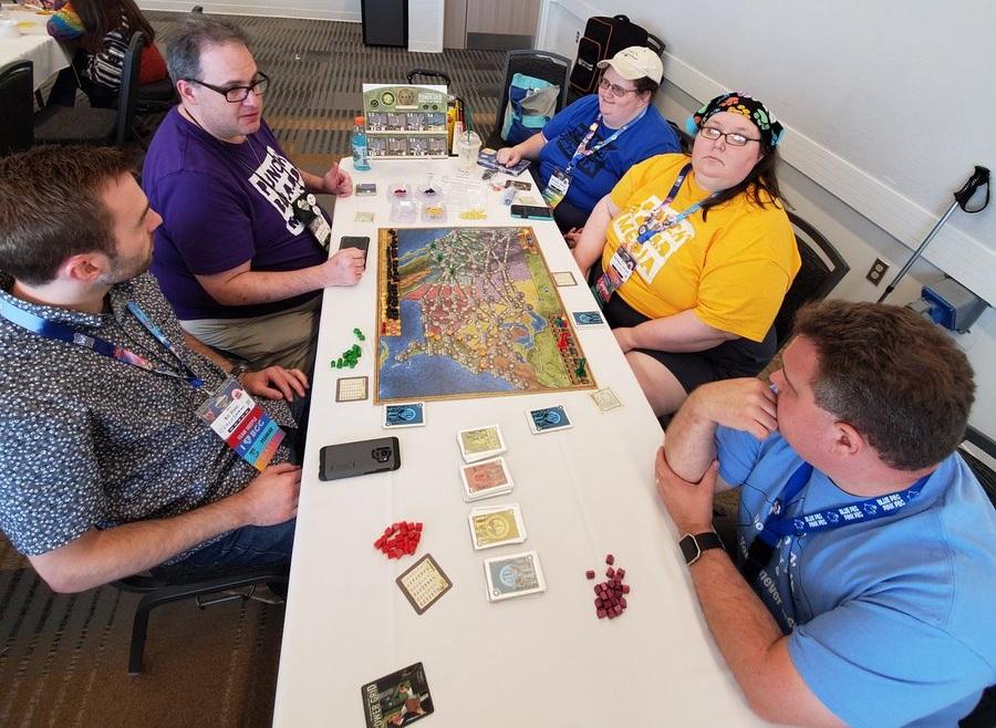 Teaching game with Bill, Sarah, Marti, Bryan and Alana (not shown). Photo courtesy - Alana
