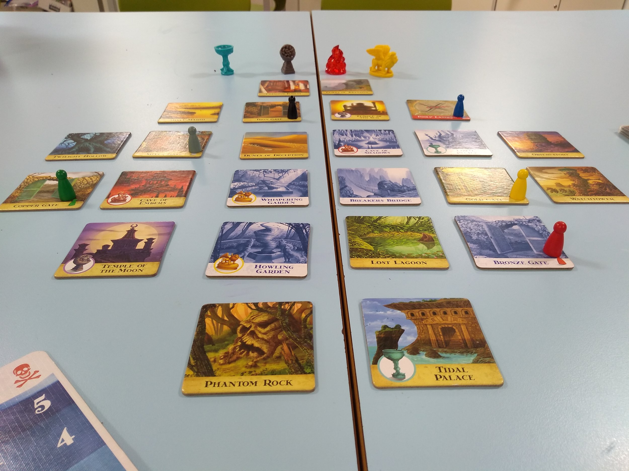 Forbidden Island. Science benches make excellent gaming tables!