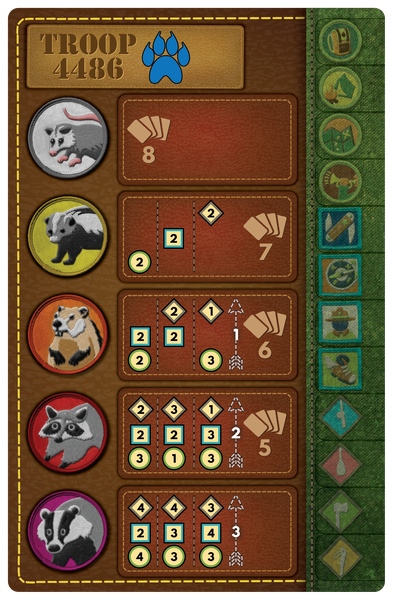 The revised, more thematic, player board.
